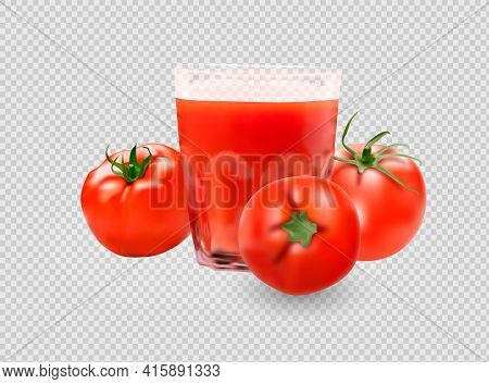 A Glass Of Tomato Juice, Tomato Set. Collection Of Red Tomatoes.photorealistic Vector Images Isolate