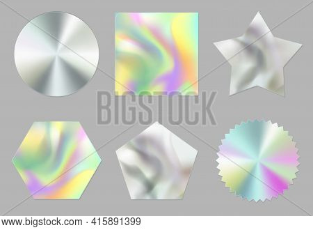 Holographic Stickers, Hologram Labels Of Different Shapes. Round, Square, Star, Notched Circle, Pent