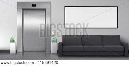 Office Or Hotel Lobby With Elevator, Sofa And White Poster On Wall. Empty Hallway Interior With Clos