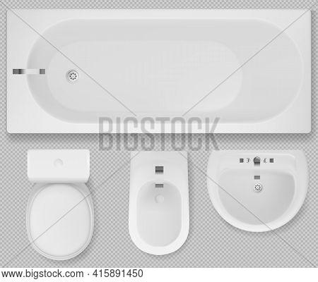 White Toilet Bowl, Bath Tub, Sink And Bidet Top View. Bathroom Interior Equipment, Washbasin With Ta