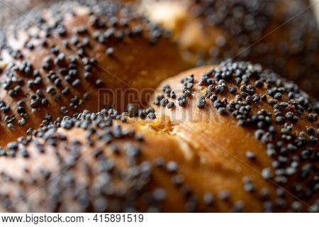 Whole Wheat Bread. Fresh Loaf Of Rustic Traditional Bread With Wheat Poppy Seeds In Pattern Of Macro