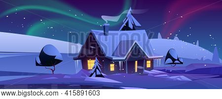 House With Christmas Decoration At Night. Winter Landscape With Snow, Cottage And Aurora Borealis In