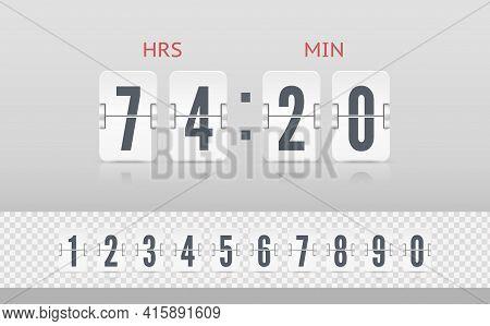 Vintage Flip Clock Time Counter Vector Template. Retro Design Score Board Clock. White Scoreboard Co