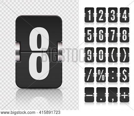 Flip Number And Symbol Scoreboard On Transparent Background. Analog Countdown Number Font. Vector Il