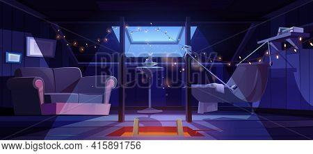 Cozy Room On Attic With Hammock And Sofa At Night. Vector Cartoon Interior Of Mansard For Relax And