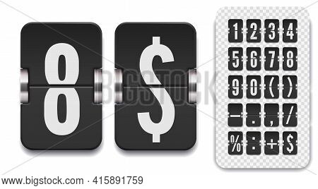 Set Of Flip Scoreboard Numbers And Symbol With Shadows For Countdown Timer. Vector Dark Watch Templa