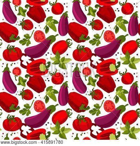 Organic Vegetables Pattern, Tomatoes, Pepper, Eggplants, Coriander Leaves, Basil And Oregano.