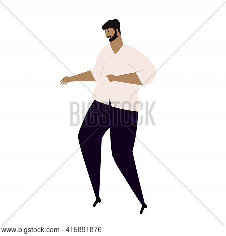Vector Hand Drawn Cartoon Illustration Of Latino Or White Man Dancing Salsa, Or Merengue. Isolated O