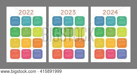 Pocket Calendar 2022, 2023 And 2024 Years. Portrait Orientation. English Colorful Vector Set. Vertic