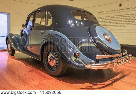 Germany, Munich - April 27, 2011: Sports Luxury Sedan Of 1939 Bmw 335 In The Exhibition Hall Of The