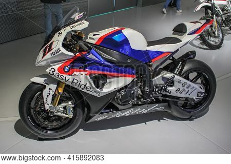 Germany, Munich - April 27, 2011: Bmw S1000 Rr Sports Motorcycle Series Production In The Exhibition
