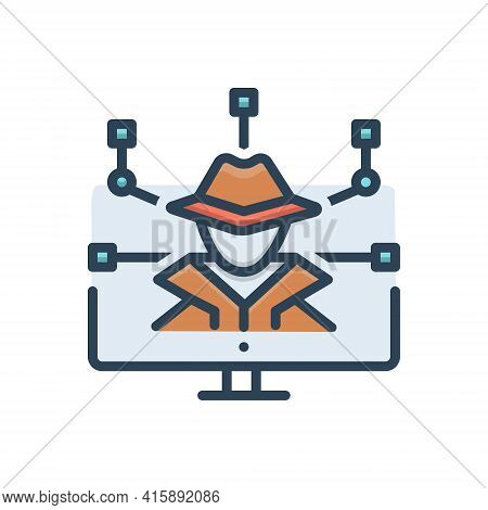 Color Illustration Icon For Cyber-crime Cyber Crime Hackers  Ransomware