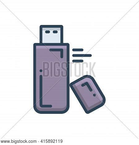 Color Illustration Icon For Flash-drive Flash Drive Storage Pen-drive  Usb