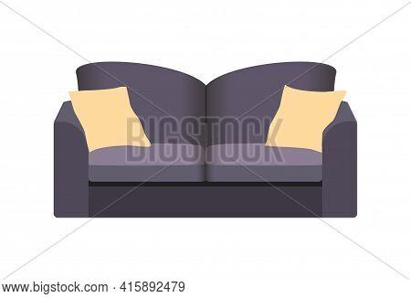 Dark Sofa Isolated On White. Sofa Icon For Interior House.