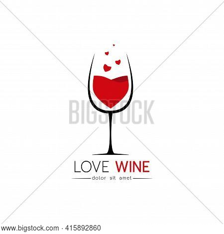 Beautiful Simple Love Wine Concept Design For Logo, Stylized Image Of Wine Logo Template, Wine Logo