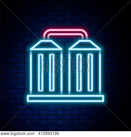 Glowing Neon Line Granary Icon Isolated On Brick Wall Background. Silo With Grain, Elevator, Granary