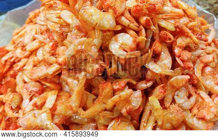 Dried Shrimp Ready For Cooking.dried Tiny Shrimp In An Asian Market.