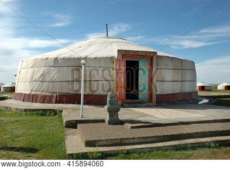 KARAKORUM, MONGOLIA - June 29, 2006: Dining Ger at the Urguu Ger Camp in Mongolias Gobi Desert. Saidto have the largest dining ger in Mongolia.