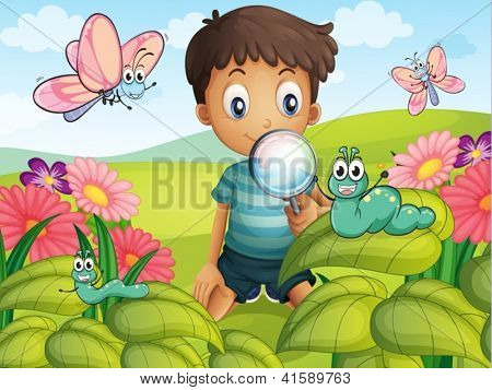 Illustration of a litte boy with a magnifying glass in the garden