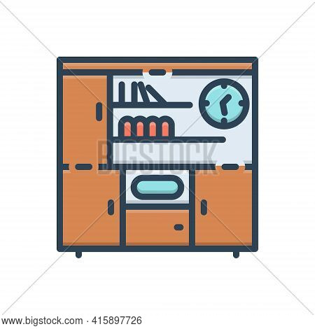 Color Illustration Icon For Shelves Book Exhibition Shelf  Showcase Stand