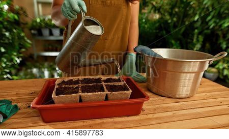 Girl Standing At A Table With A Watering Can In Her Hand. Worker Caring For Plants In The Home Garde