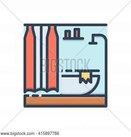 Color Illustration Icon For Bathroom Bath Contemporary Modern Sanitary Shower Washroom