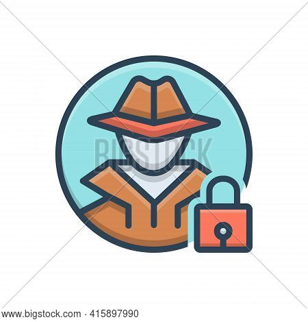 Color Illustration Icon For Anti-theft Anti Theft  Protection Hacker Investigate