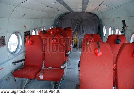 GOBI DESERT, MONGOLIA - June 29, 2006: Heilcopter interior for sightseeing in the Gob Desert of Mongolia