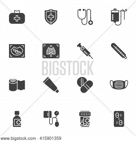 Medical Service Vector Icons Set, Modern Solid Symbol Collection, Filled Style Pictogram Pack. Signs