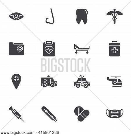 Healthcare And Medical Vector Icons Set, Modern Solid Symbol Collection, Filled Style Pictogram Pack