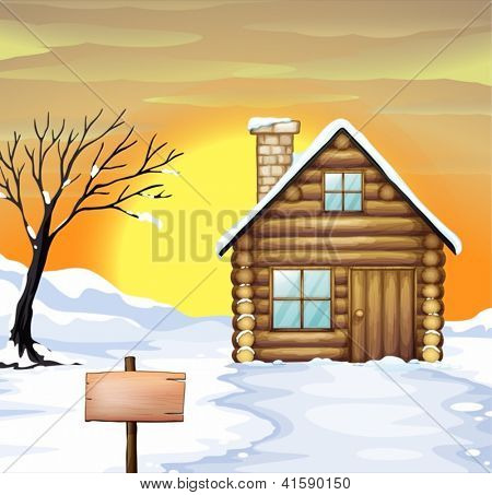 Illustration of a log cabin and dead tree on a snowy field