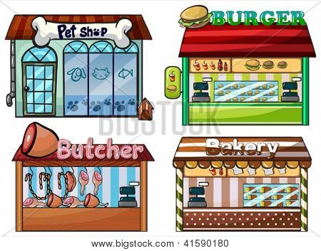Illustration of a petshop, burger stand, butcher shop, and bakery on white background.