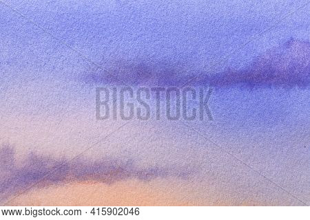Abstract Art Background Navy Blue And Coral Colors. Watercolor Painting On Canvas With Soft Purple G
