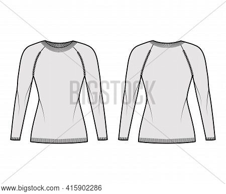Crew Neck Sweater Technical Fashion Illustration With Raglan Long Sleeves, Slim Fit, Hip Length, Kni