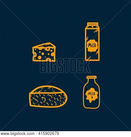 A Set Of Icons For Cheese And Dairy Products. Colored Doodle Logos Of Milk Products. Cheese Slices,