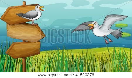Illustration of two chirping birds in the field
