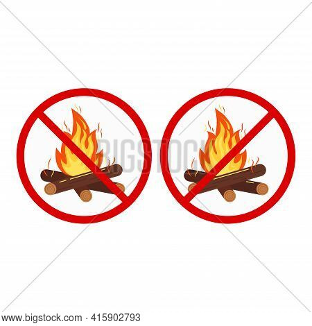 No Bonfire Stop Camping Sign Set Isolated On White Background.