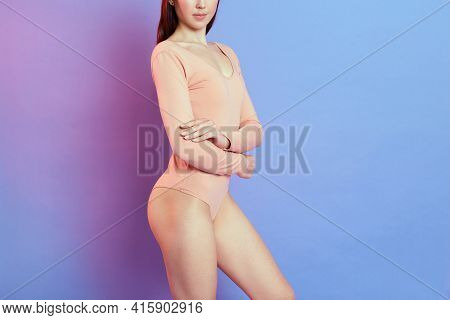 Unknown Female With Ideal Figure Posing With Folded Hands On Her Body, Woman Perfect Body, Girl With