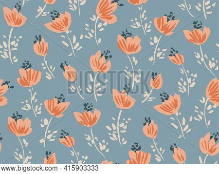 Breezy Romance Floral Seamless Vector Pattern. Beautiful Loosely Painted Flower With Leaves In Orang
