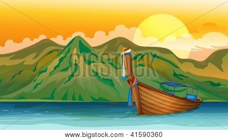 Illustration of a boat lost in the sea near the mountain area