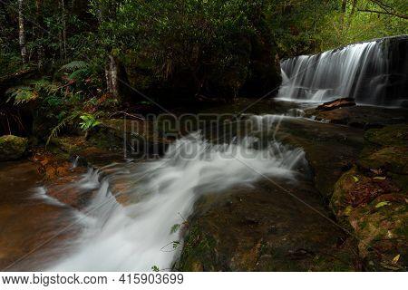 Beautiful Cascading Waterfall Through Cascading Bushland In Blue Mountains Australia