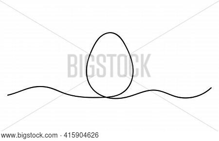 Egg Line Art. Continuous One Line Drawing Of Whole Egg. Vector Illustration Design Element For Seaso