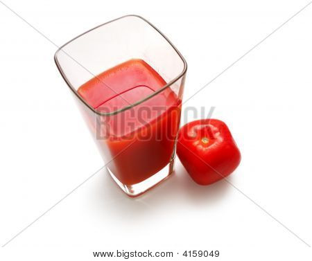 Square Glass With Juice And Suare Tomato