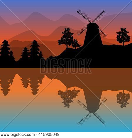 Beautiful Landscape With Windmill, Trees, Mountains And Sunset. Panoramic View Of Fjord At Twilight