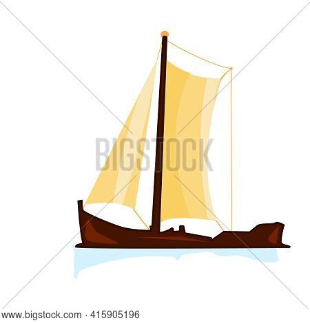Sailboat Isolated On White Background. Yacht Or Sailing Ship With Yellow Sails. Vintage Wooden Fishi
