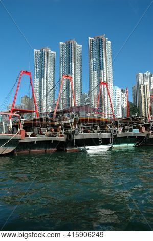 Hong Kong - 22 JUNE 2006: Fishing Boats on Aberdeem Bay, Hong Kong, China