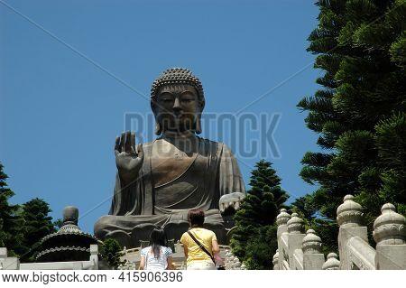 Hong Kong - 22 JUNE 2006: Sitting Buddha on Lantau Island, Hong Kong, China
