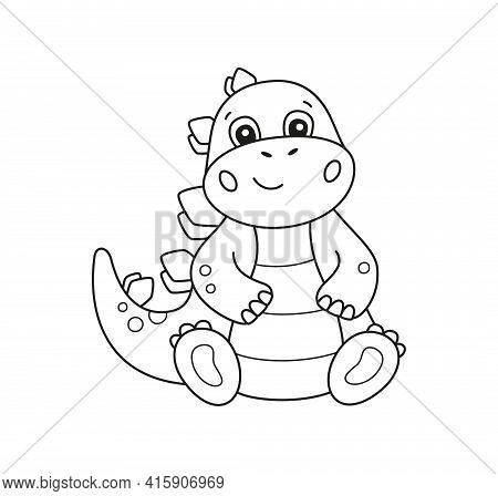Cute Little Dinosaur For Kid Coloring Book. Baby Stegosaurus. Children Puzzle Game. Black And White