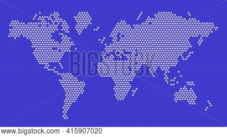 Purple Hexagonal Pixel World Map. Vector Illustration Planet Earth Continents Hexagon Map Dotted Mos