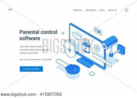 Vector Template Of Web Homepage With Blue Elements Of Surveillance And Computer Representing Service